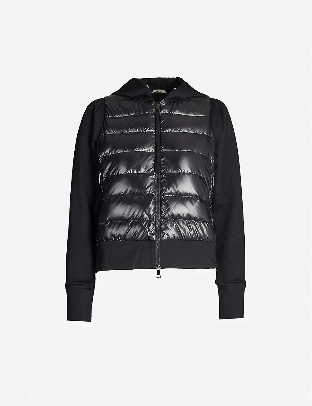 MONCLER: Quilted cotton-blend shell hoody