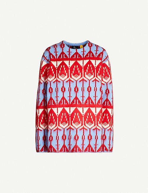 MONCLER GENIUS Abstract-print wool-blend jumper