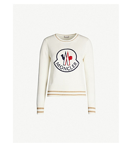 Moncler Tops Logo-embroidered wool and cashmere-blend jumper