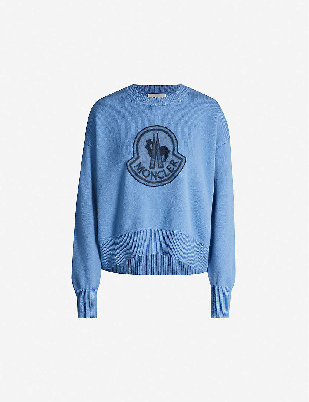 MONCLER: Round-neck brand-badge wool-and-cashmere blend jumper