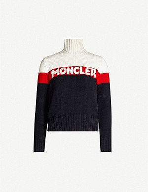 MONCLER Colour-blocked turtleneck wool and cashmere-blend jumper