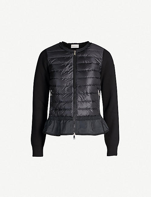 MONCLER Flounce flared-hem cotton knit-panelled shell-down jacket 4a639a46e1