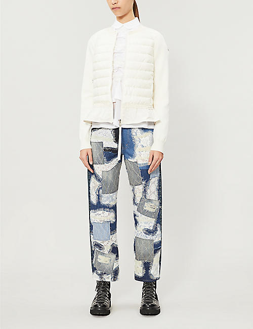 MONCLER Flounce flared-hem cotton-knit and shell-down jacket
