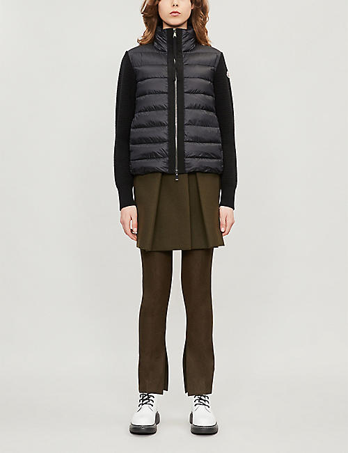 MONCLER Lined padded shell and wool jacket