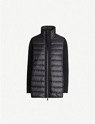 MONCLER: Lined padded shell and wool jacket