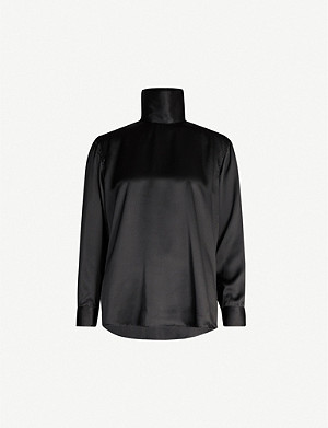 DRIES VAN NOTEN High-neck silk-satin blouse