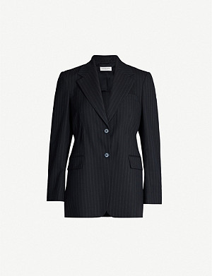 DRIES VAN NOTEN Pinstriped polyester-and-wool blend jacket