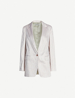 DRIES VAN NOTEN Fitted metallic woven blazer