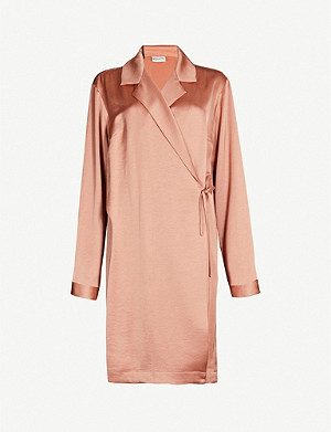 DRIES VAN NOTEN Relaxed-fit dropped shoulders satin jacket