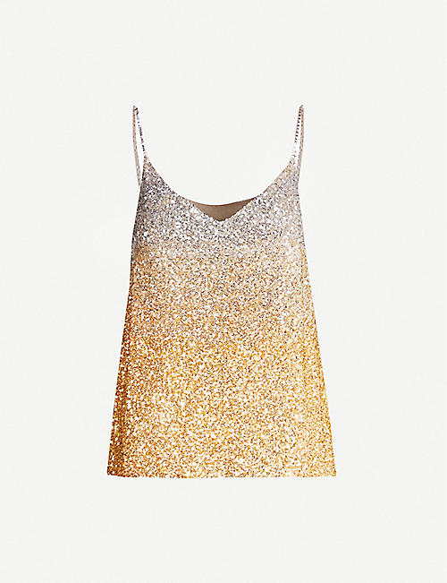 DRIES VAN NOTEN Sequin-embellished silk top