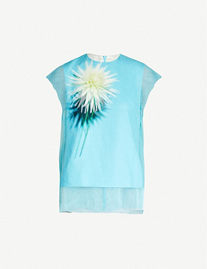 DRIES VAN NOTEN Floral-print silk and tulle top
