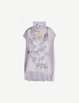 DRIES VAN NOTEN Floral-print silk-organza top