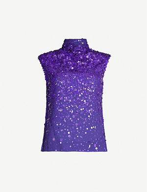 DRIES VAN NOTEN Sequin-embellished sleeveless high-neck crepe top
