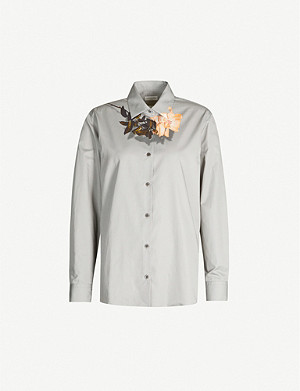 DRIES VAN NOTEN Flower print cotton-poplin shirt