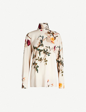 DRIES VAN NOTEN Turtleneck floral-print stretch-crepe top