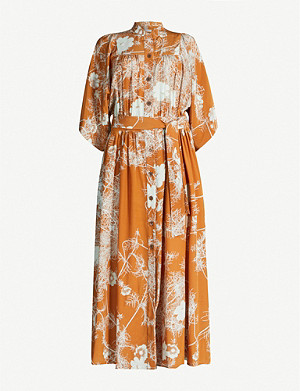 DRIES VAN NOTEN Floral-print silk midi dress