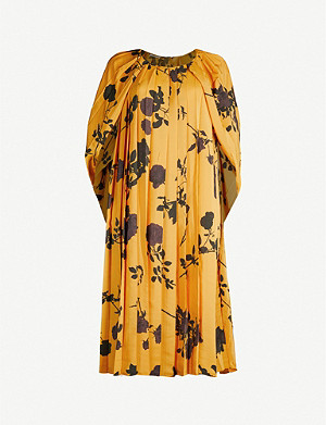DRIES VAN NOTEN Floral-print pleated woven cape dress