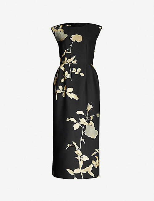 DRIES VAN NOTEN Sequin-embellished metallic floral-print jacquard midi dress