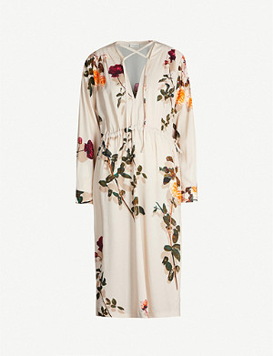 DRIES VAN NOTEN Floral-print drawstring stretch-crepe midi dress