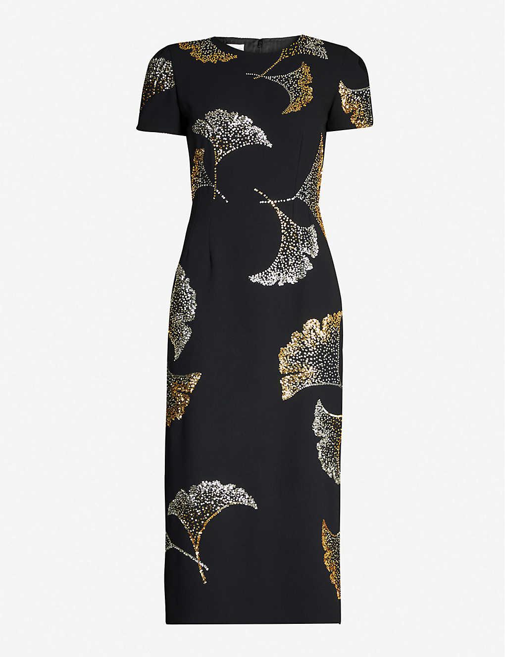Dries Van Noten Dress Floral-embellished crepe bodycon midi dress