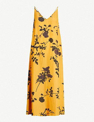 DRIES VAN NOTEN Floral-print crepe midi slip dress