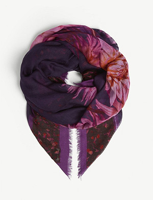 DRIES VAN NOTEN Floral silk-blend scarf