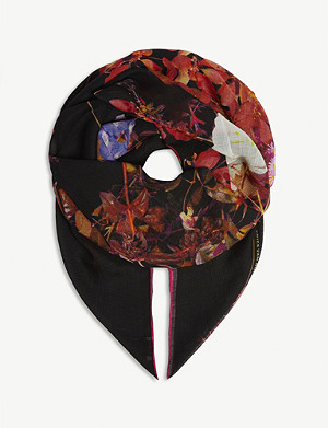 DRIES VAN NOTEN Floral wool-blend scarf
