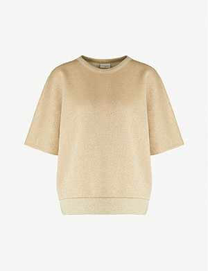 DRIES VAN NOTEN Metallic cotton-blend T-shirt