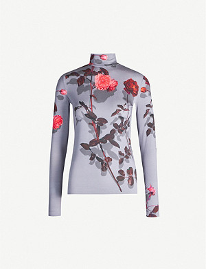 DRIES VAN NOTEN Floral-print turtleneck stretch-woven top