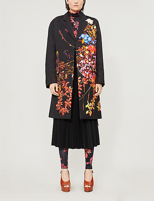 DRIES VAN NOTEN Turtleneck leaf-print stretch-woven top