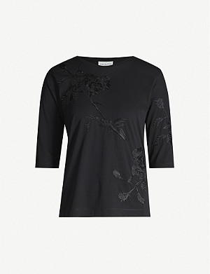 DRIES VAN NOTEN Floral embroidered cotton-jersey T-shirt