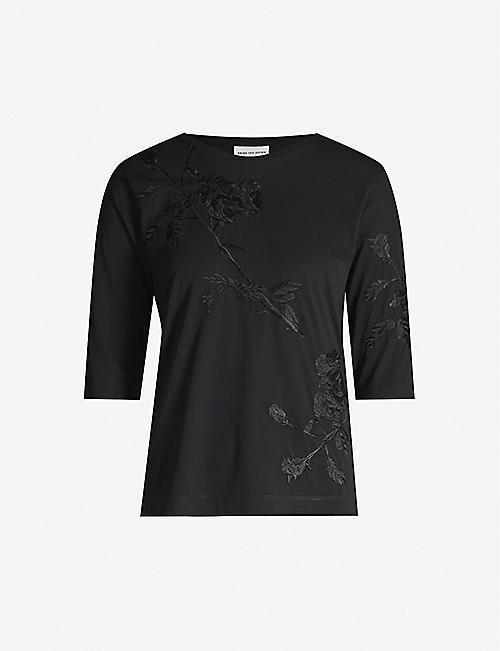 0dee889c7780b DRIES VAN NOTEN Floral embroidered cotton-jersey T-shirt