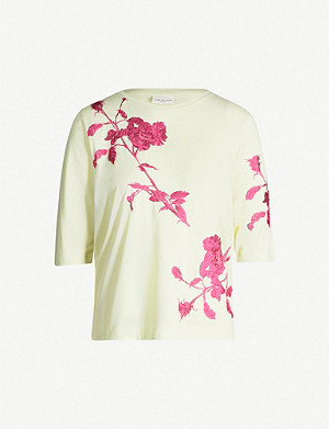 DRIES VAN NOTEN Floral-embroidered cotton-jersey T-shirt