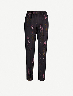 DRIES VAN NOTEN Floral-print woven tapered trousers
