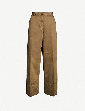 DRIES VAN NOTEN Wide-leg cotton-twill trousers