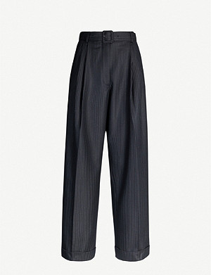 DRIES VAN NOTEN Belted high-rise pinstriped wool tapered trousers