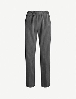 DRIES VAN NOTEN Pinstripe high-rise straight woven trousers