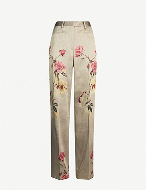 DRIES VAN NOTEN High-rise floral-jacquard woven tapered trousers