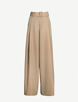 DRIES VAN NOTEN High-rise wide-leg cotton-blend trousers
