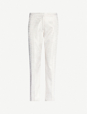 DRIES VAN NOTEN Mid-rise metallic woven tapered trousers