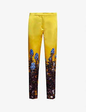 DRIES VAN NOTEN Floral high-rise satin tapered trousers