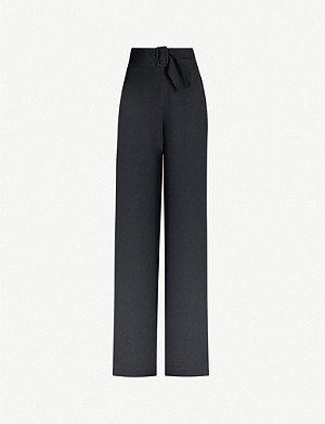 DRIES VAN NOTEN Belted high-rise crepe wide-leg trousers