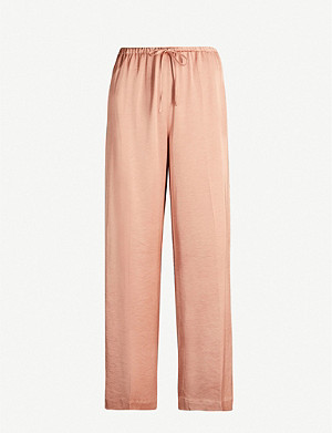 DRIES VAN NOTEN High-rise relaxed-fit wide satin trousers