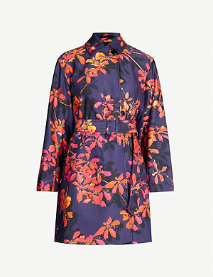 DRIES VAN NOTEN Floral belted satin coat