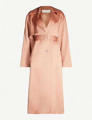 DRIES VAN NOTEN Belted satin trench coat