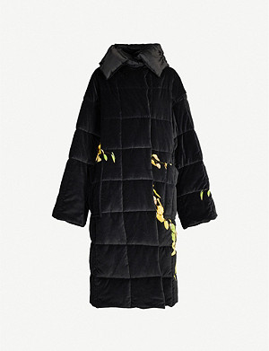 DRIES VAN NOTEN Floral-print padded cotton-velvet coat