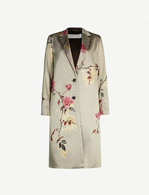 DRIES VAN NOTEN Floral-pattern single-breasted woven coat
