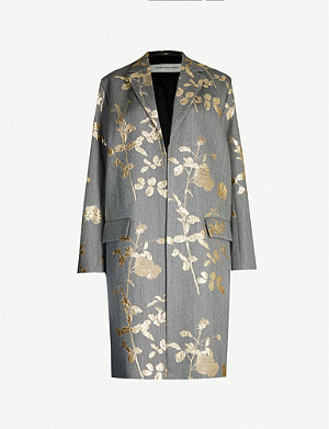 DRIES VAN NOTEN Metallic floral-embroidered jacquard coat