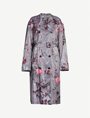 DRIES VAN NOTEN Floral-print double-breasted woven coat
