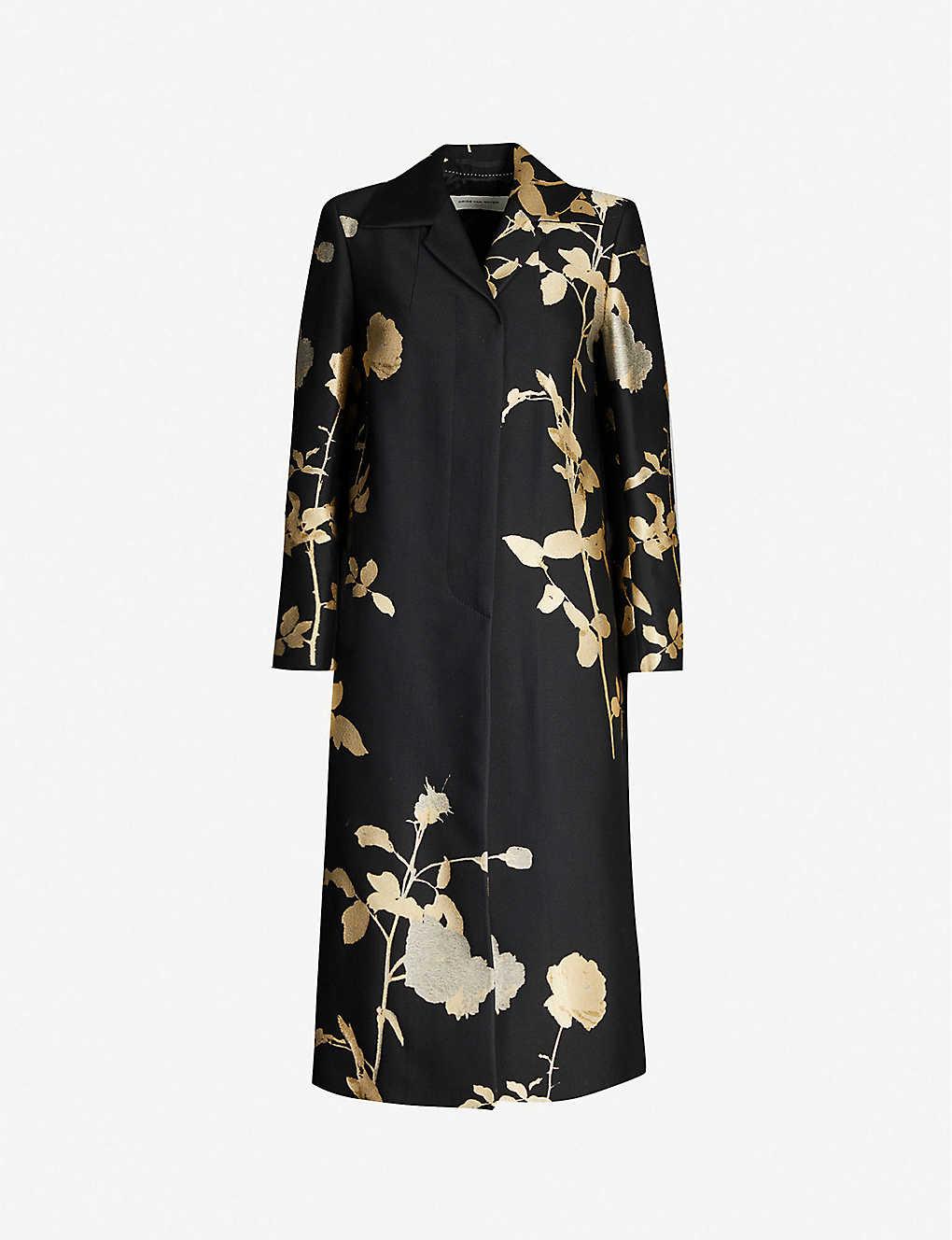 Dries Van Noten Coats Metallic floral-pattern woven-jacquard coat